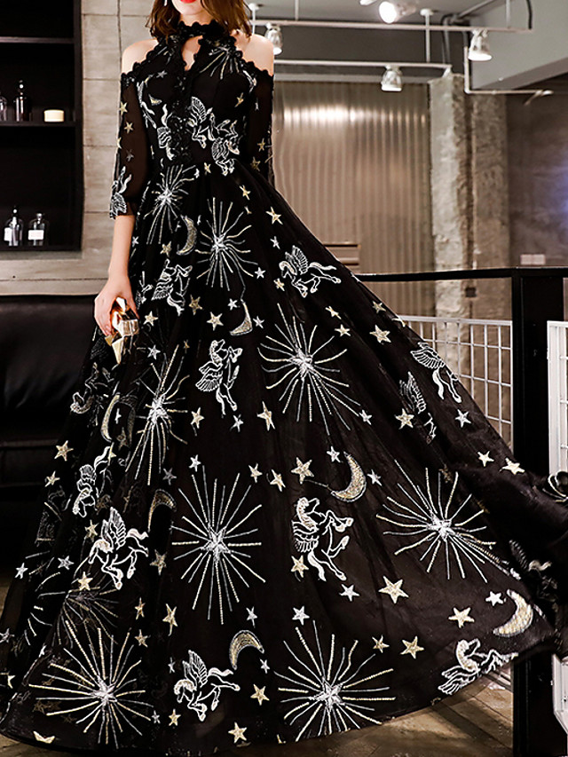 A-Line Glittering Black Prom Formal Evening Dress Halter Neck Half Sleeve Floor Length Polyester with Sequin Appliques 2020