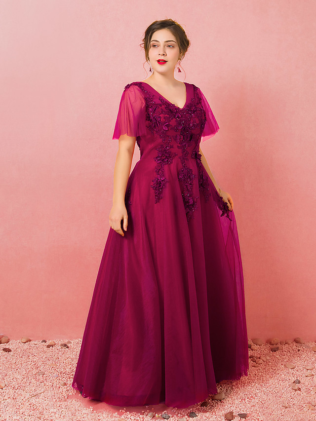 A-Line Plus Size Red Engagement Formal Evening Dress V Neck Half Sleeve Floor Length Lace Satin Tulle with Appliques 2020