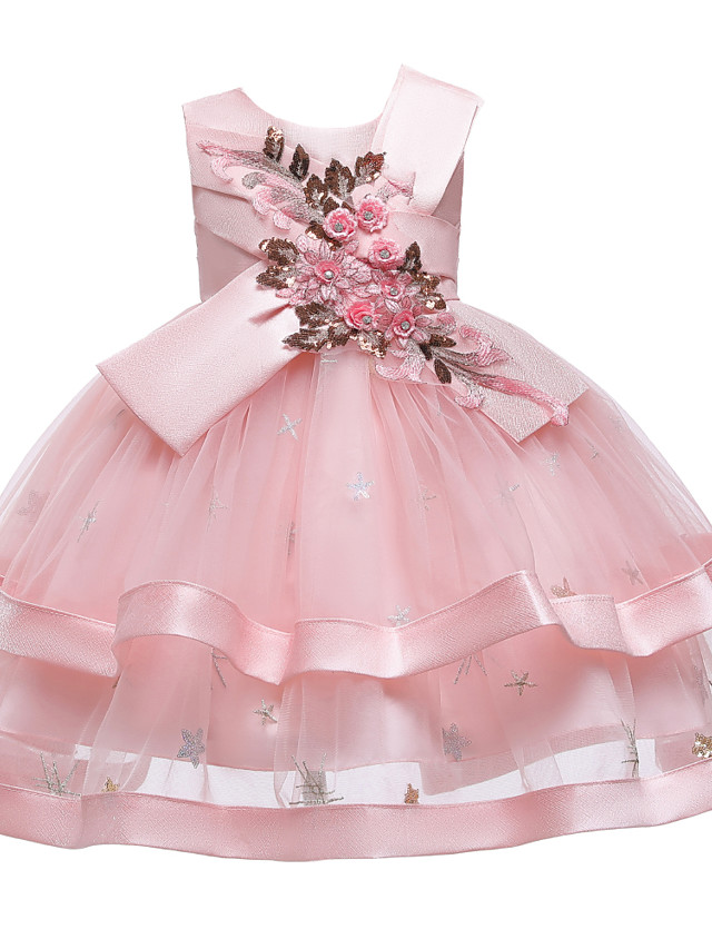 Kids Toddler Girls' Active Cute Floral Solid Colored Sequins Beaded Bow Sleeveless Knee-length Dress Blushing Pink