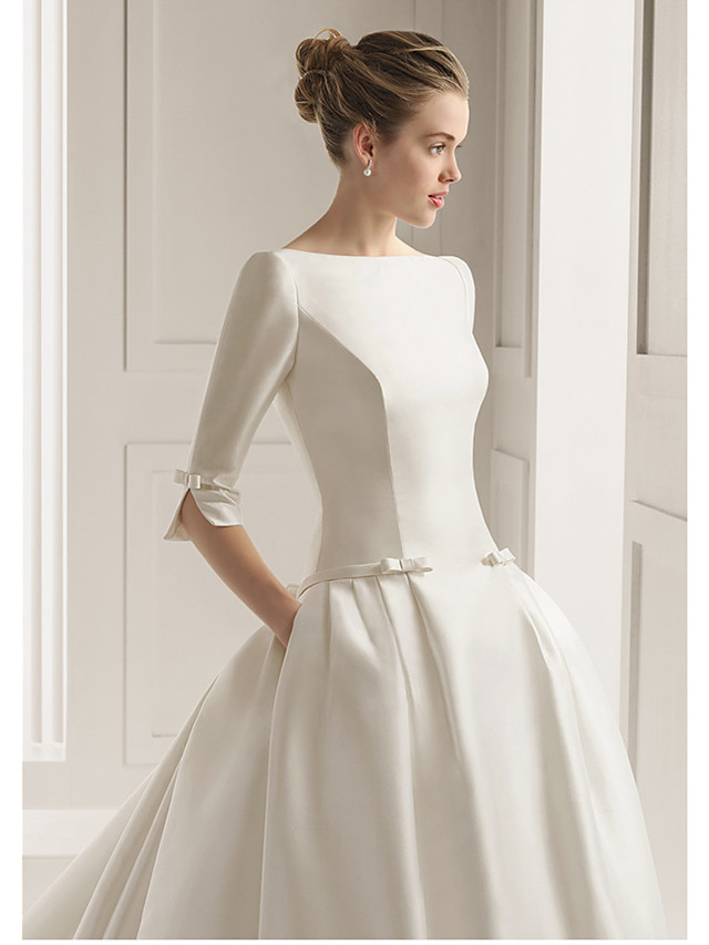 A-Line Wedding Dresses Bateau Neck Court Train Polyester Half Sleeve Sexy Plus Size with 2020