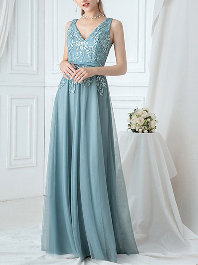 A-Line Floral Turquoise / Teal Wedding Guest Prom Dress V Neck Sleeveless Floor Length Lace Tulle Polyester with Embroidery Appliques 2020