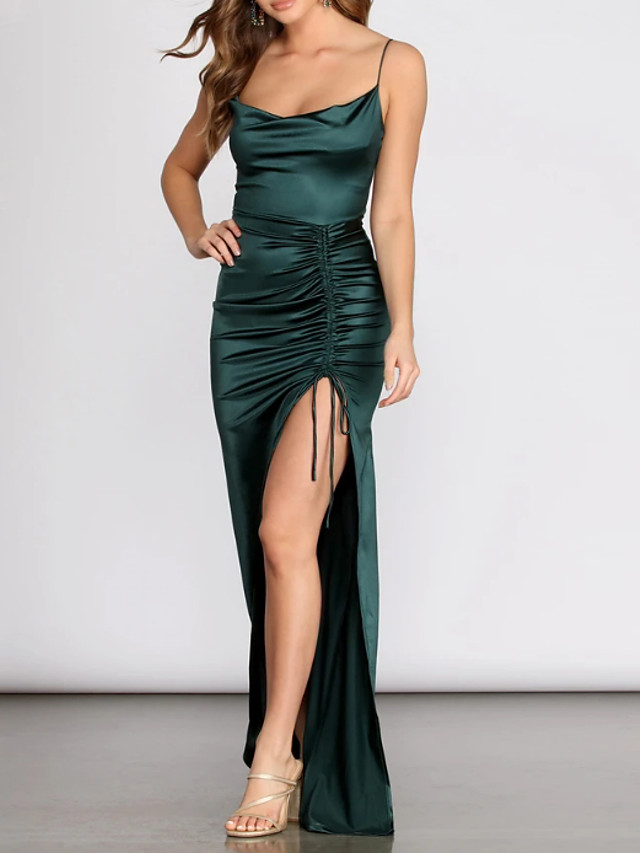 Sheath / Column Sexy Green Prom Formal Evening Dress Scoop Neck Sleeveless Floor Length Charmeuse Spandex with Ruched Split 2020