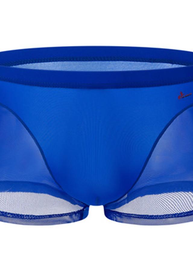Men's Mesh Boxers Underwear - Normal Low Waist Light Blue White Royal Blue M L XL