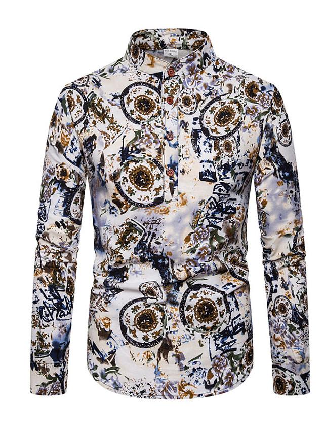 Men's Daily Shirt Geometric Color Block Long Sleeve Tops Basic Rainbow