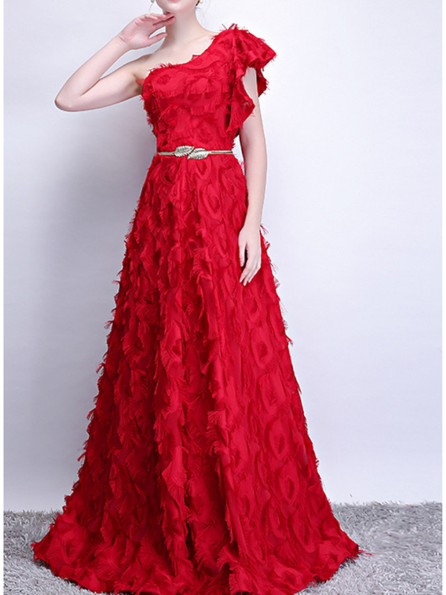 A-Line Luxurious Red Engagement Prom Dress One Shoulder Sleeveless Floor Length Polyester with Sash / Ribbon Appliques 2020