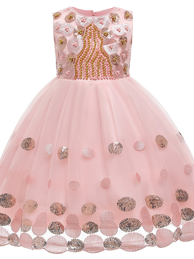 Kids Girls' Active Sweet Solid Colored Sequins Beaded Sleeveless Knee-length Dress Blushing Pink