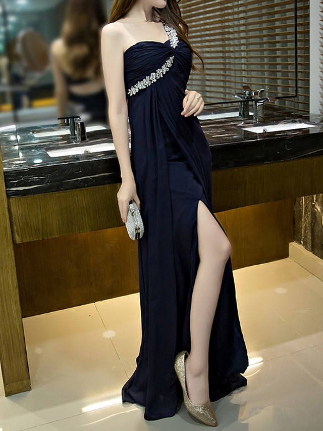 Sheath / Column Sexy Blue Engagement Prom Dress One Shoulder Sleeveless Floor Length Polyester with Crystals Draping Split 2020