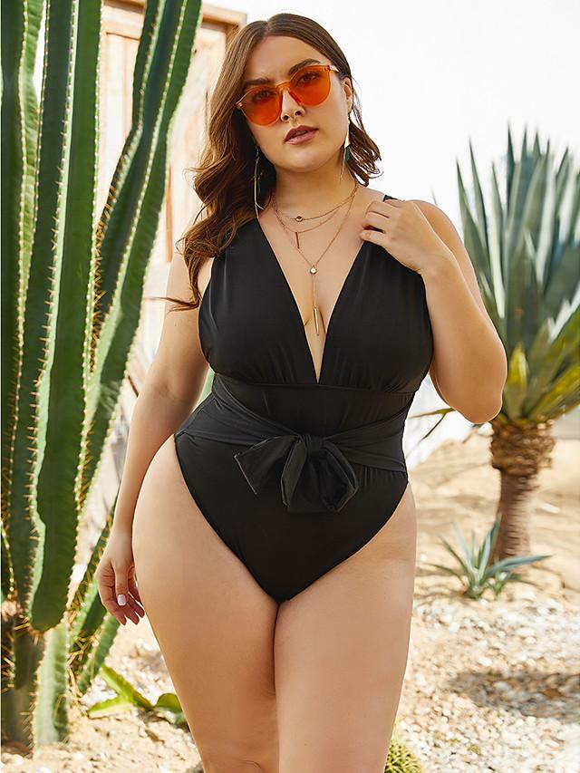 Women's Plus Size Sporty One-piece Swimwear Swimsuit Bathing Suits - Solid Colored Black XXL XXXL XXXXL