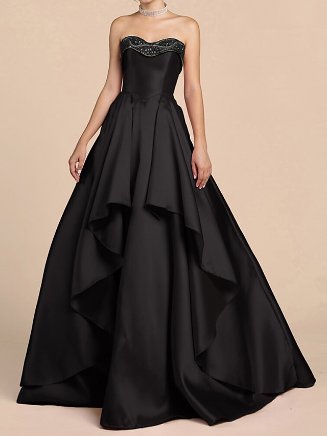 Ball Gown Elegant Black Engagement Prom Dress Sweetheart Neckline Sleeveless Floor Length Satin with Sequin Tier 2020