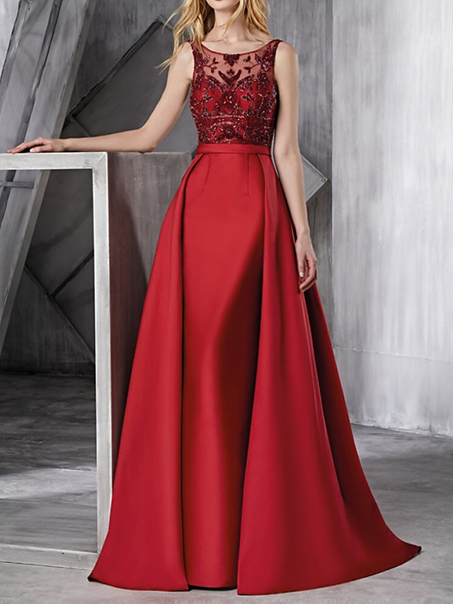Ball Gown Elegant Engagement Prom Dress Jewel Neck Sleeveless Floor Length Polyester with Lace Insert Appliques 2020