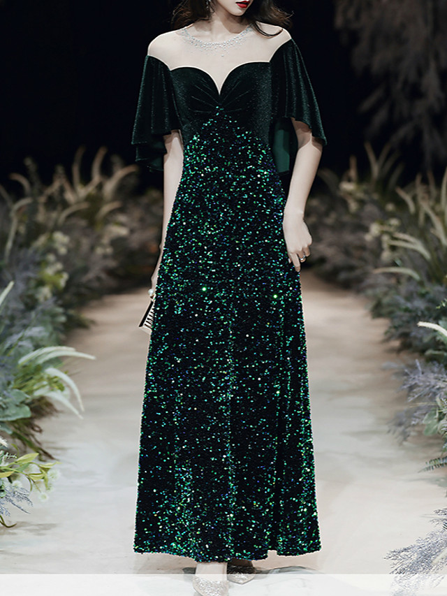 A-Line Sparkle Black Prom Formal Evening Dress Jewel Neck Short Sleeve Floor Length Lace Sequined Velvet with Sequin 2020