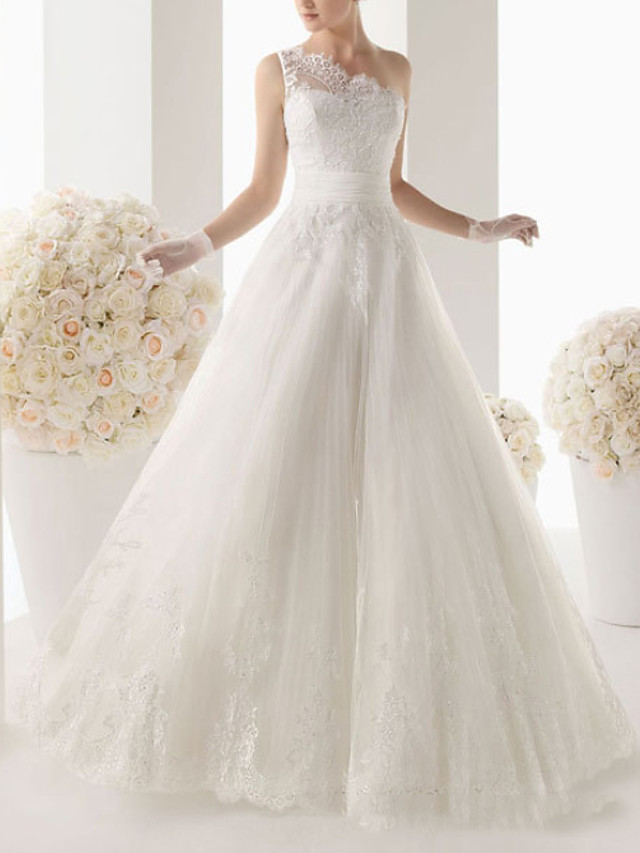 A-Line Wedding Dresses One Shoulder Sweep / Brush Train Lace Sleeveless Formal with Lace 2020
