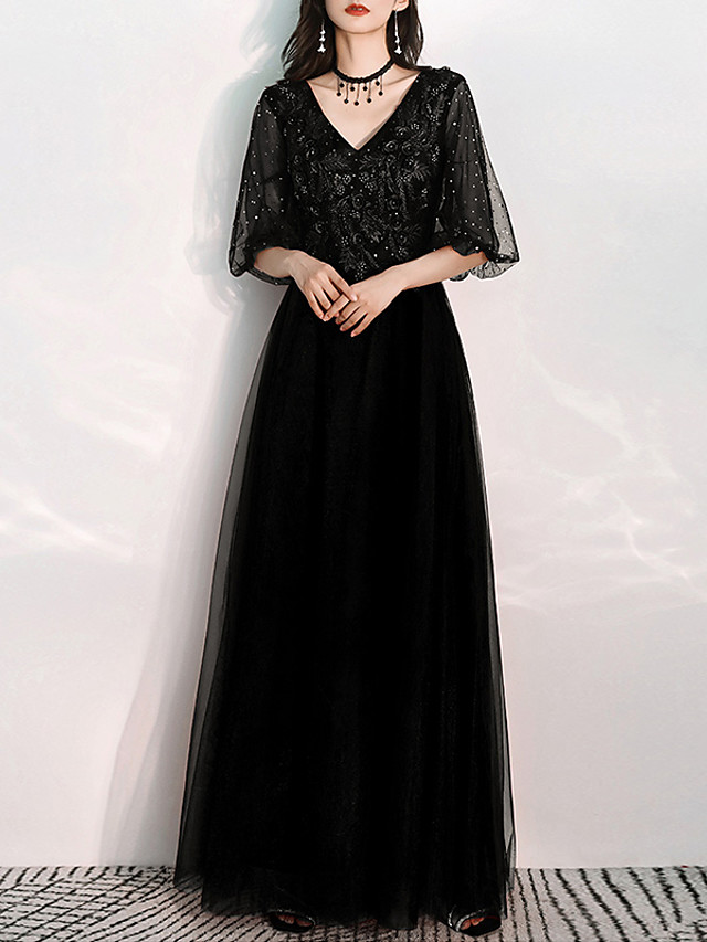 A-Line Glittering Black Prom Formal Evening Dress V Neck Half Sleeve Floor Length Tulle with Appliques 2020 / Illusion Sleeve