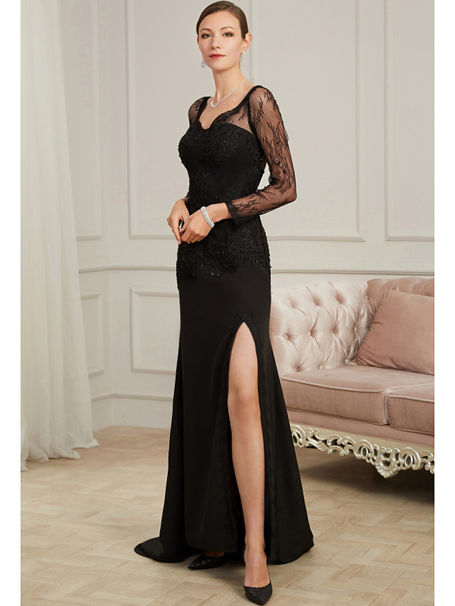 Sheath / Column Sexy Black Party Wear Formal Evening Dress V Neck Long Sleeve Sweep / Brush Train Chiffon Tulle with Beading Split Appliques 2020