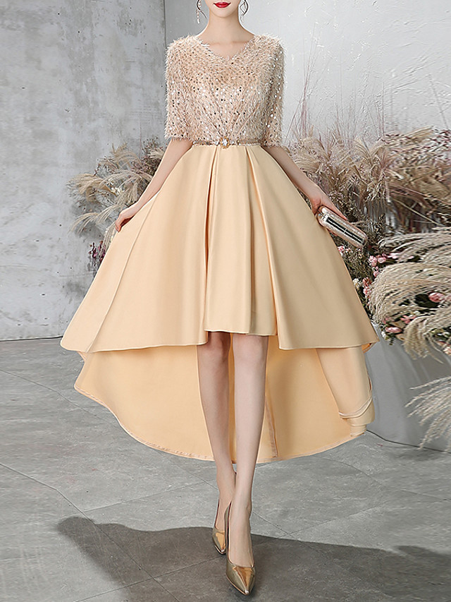 A-Line Glittering Gold Cocktail Party Prom Dress V Neck Half Sleeve Asymmetrical Lace Satin with Sash / Ribbon Sequin 2020