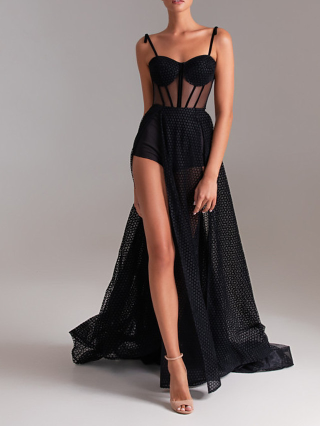 A-Line Sexy Black Party Wear Formal Evening Dress Sweetheart Neckline Sleeveless Court Train Tulle with Split 2020