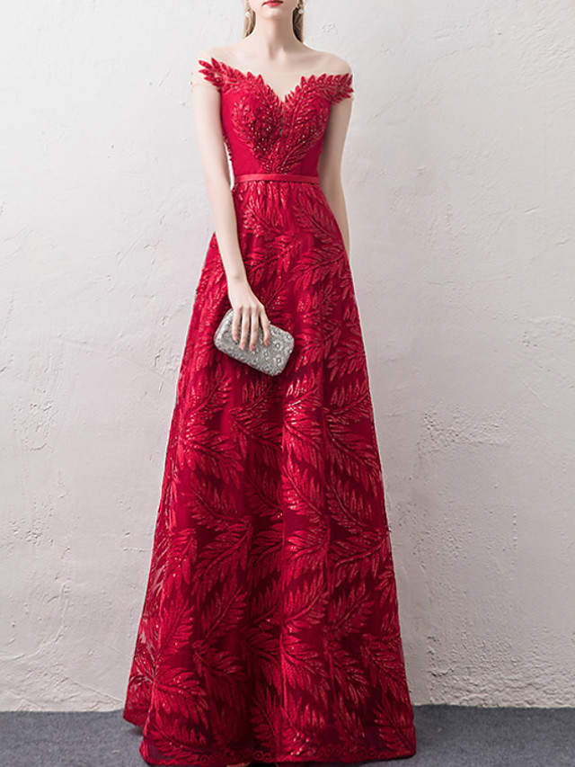 A-Line Off Shoulder Floor Length Lace / Tulle Sexy / Red Engagement / Prom Dress with Appliques / Pleats 2020