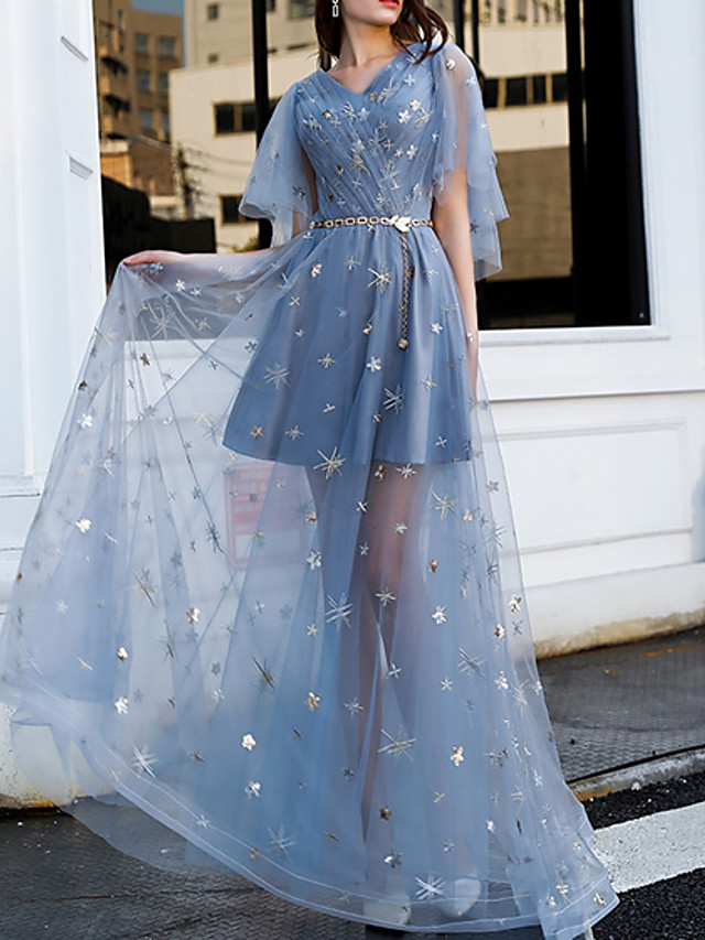 A-Line Sexy Blue Party Wear Prom Dress V Neck Short Sleeve Floor Length Polyester with Sash / Ribbon Sequin Appliques 2020