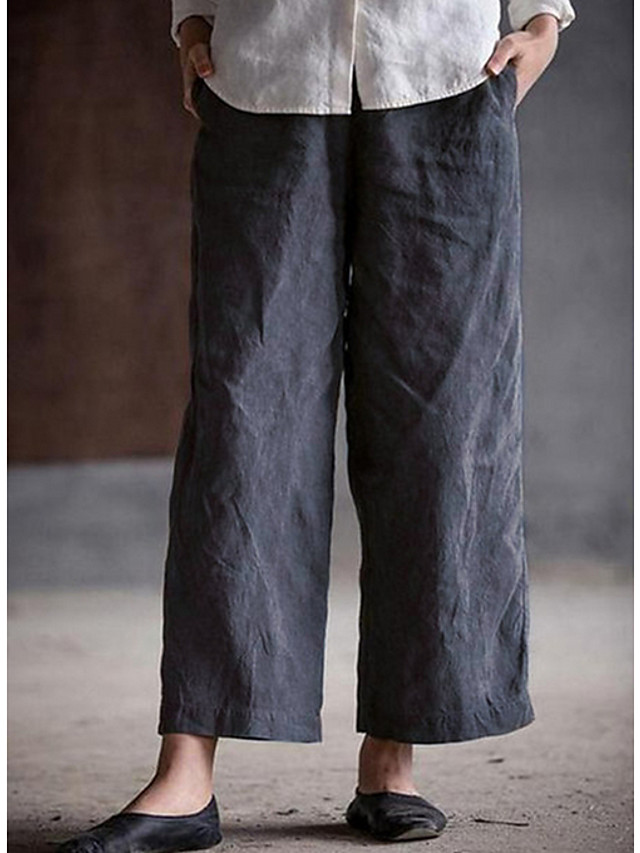 Women's Basic Loose Cotton Wide Leg Pants - Solid Colored Wine White Black S / M / L