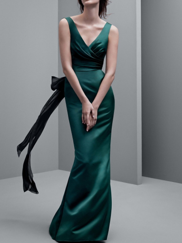 Sheath / Column Sexy Green Engagement Formal Evening Dress V Neck Sleeveless Floor Length Polyester with Sash / Ribbon 2020