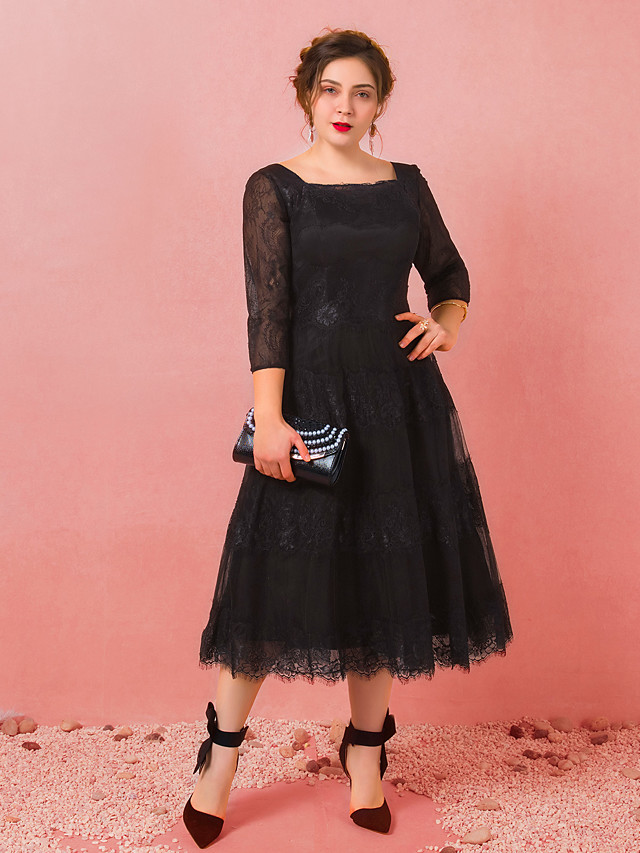 A-Line Plus Size Black Party Wear Cocktail Party Dress Scoop Neck 3/4 Length Sleeve Tea Length Lace Satin Tulle with Appliques 2020