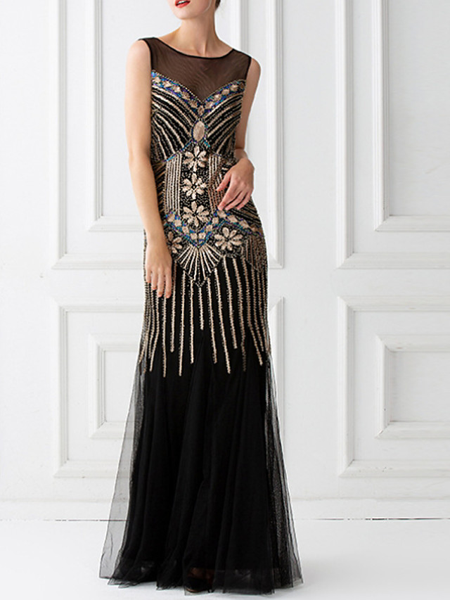 A-Line Elegant Black Party Wear Formal Evening Dress V Neck Sleeveless Floor Length Tulle with Beading Appliques 2020