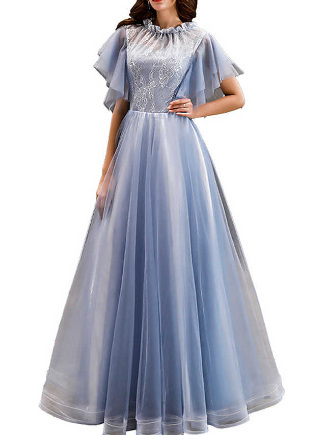 A-Line Elegant Blue Engagement Prom Dress Jewel Neck Short Sleeve Floor Length Polyester with Pleats Appliques 2020