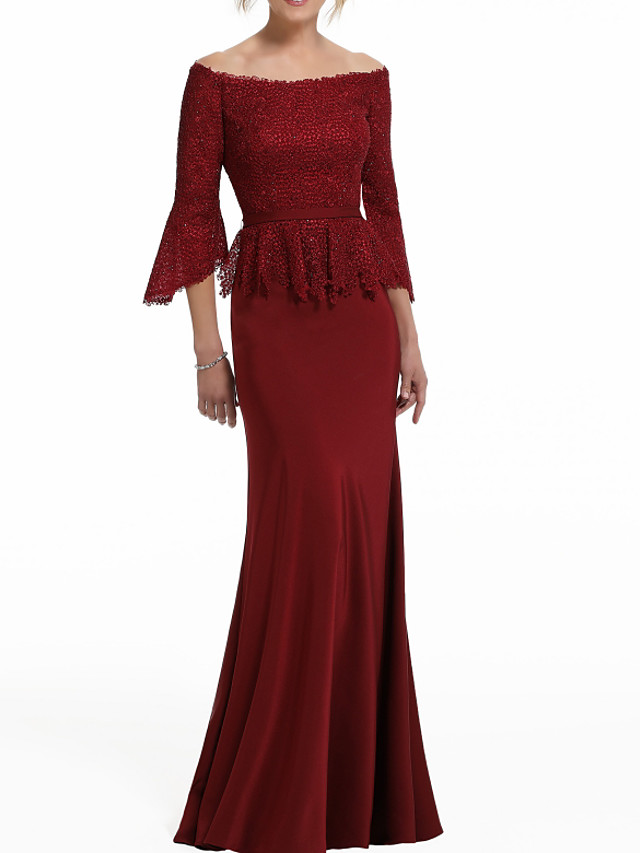 Mermaid / Trumpet Peplum Red Wedding Guest Formal Evening Dress Off Shoulder Half Sleeve Floor Length Polyester with Lace Insert 2020