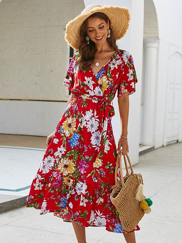 Mulheres Vestido Envelope Vestidos Midi - Manga Curta Floral Estampado Verão Decote V Feriado Preto Vermelho Amarelo S M L XL
