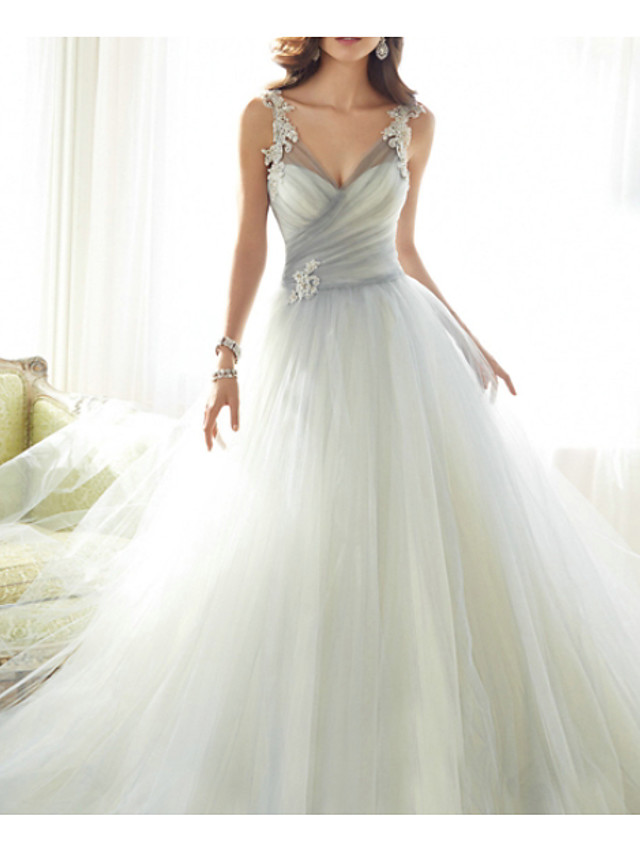 Ball Gown Grey White Engagement Formal Evening Dress V Neck Sleeveless Court Train Polyester with Ruched Appliques 2020
