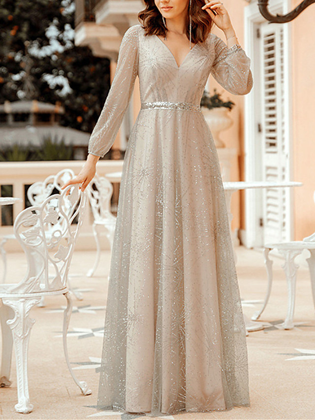 A-Line Sparkle Grey Party Wear Formal Evening Dress V Neck Long Sleeve Floor Length Tulle Sequined Polyester with Sash / Ribbon Sequin 2020 / Illusion Sleeve