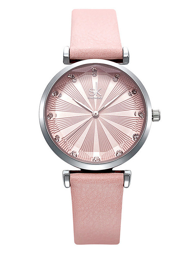 Women's Quartz Watches Casual Fashion PU Leather Japanese Quartz Blushing Pink Green Blue Water Resistant / Waterproof 30 m 1 pc Analog One Year Battery Life