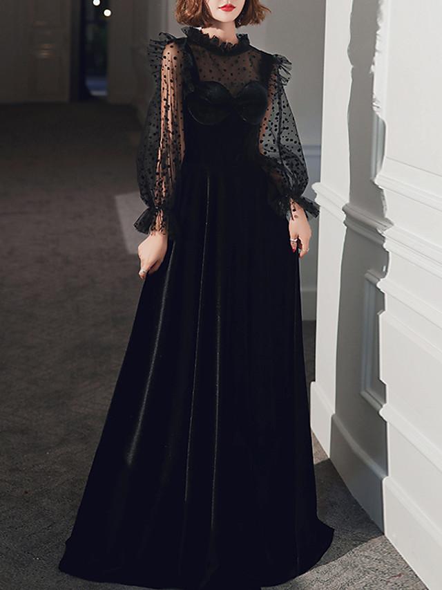 A-Line Vintage Black Prom Formal Evening Dress High Neck Long Sleeve Floor Length Velvet with Pleats 2020