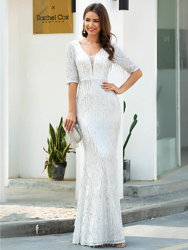 Sheath / Column Glittering White Engagement Formal Evening Dress V Neck Half Sleeve Floor Length Polyester with Sequin Tassel 2020 / Illusion Sleeve