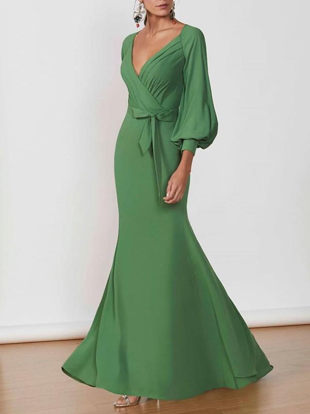 Mermaid / Trumpet Elegant Green Wedding Guest Formal Evening Dress V Neck 3/4 Length Sleeve Floor Length Polyester with Sash / Ribbon 2020