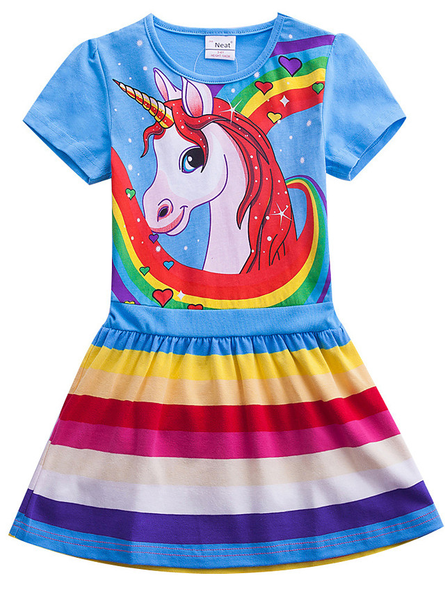Kids Girls' Sweet Cute Unicorn Color Block Rainbow Cartoon Print Short Sleeve Knee-length Dress Fuchsia