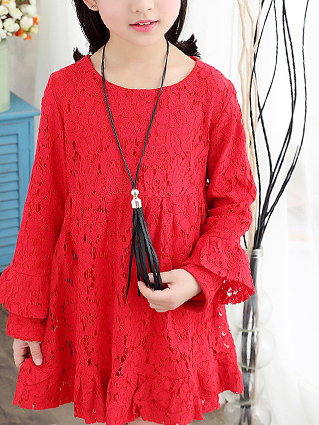 Kids Girls' Cute Red Jacquard Solid Colored Ruched Mesh Patchwork Long Sleeve Above Knee Dress Blushing Pink