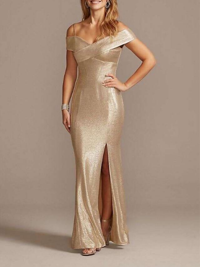 Mermaid / Trumpet Mother of the Bride Dress Sparkle & Shine Off Shoulder Floor Length Polyester Short Sleeve with Split Front 2020