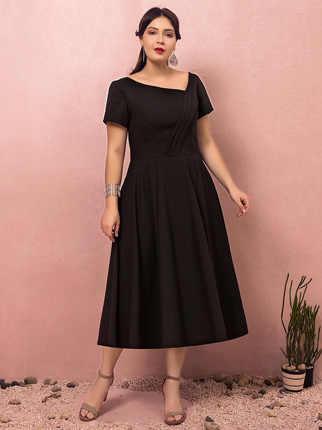 A-Line Plus Size Black Party Wear Cocktail Party Dress V Neck Short Sleeve Tea Length Polyester with Ruched 2020