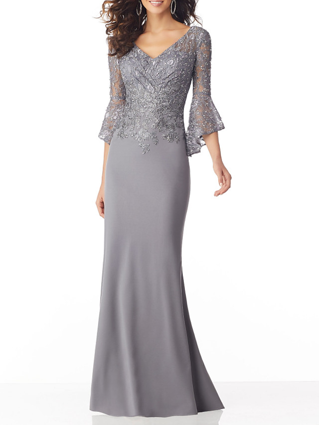 Mermaid / Trumpet Sexy Grey Wedding Guest Formal Evening Dress V Neck Half Sleeve Sweep / Brush Train Chiffon with Sequin Appliques 2020