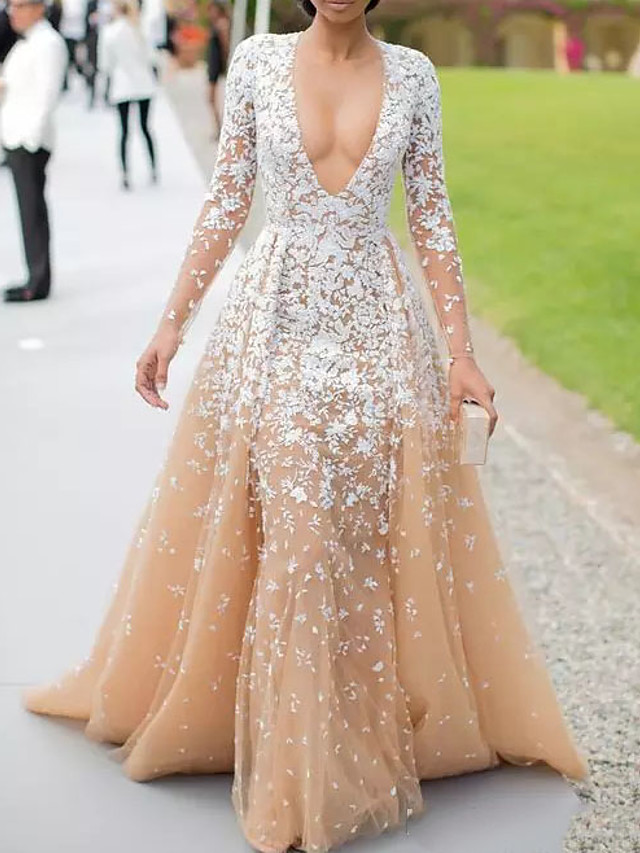A-Line Floral Pink Engagement Formal Evening Dress V Neck Long Sleeve Court Train Polyester with Overskirt Appliques 2020