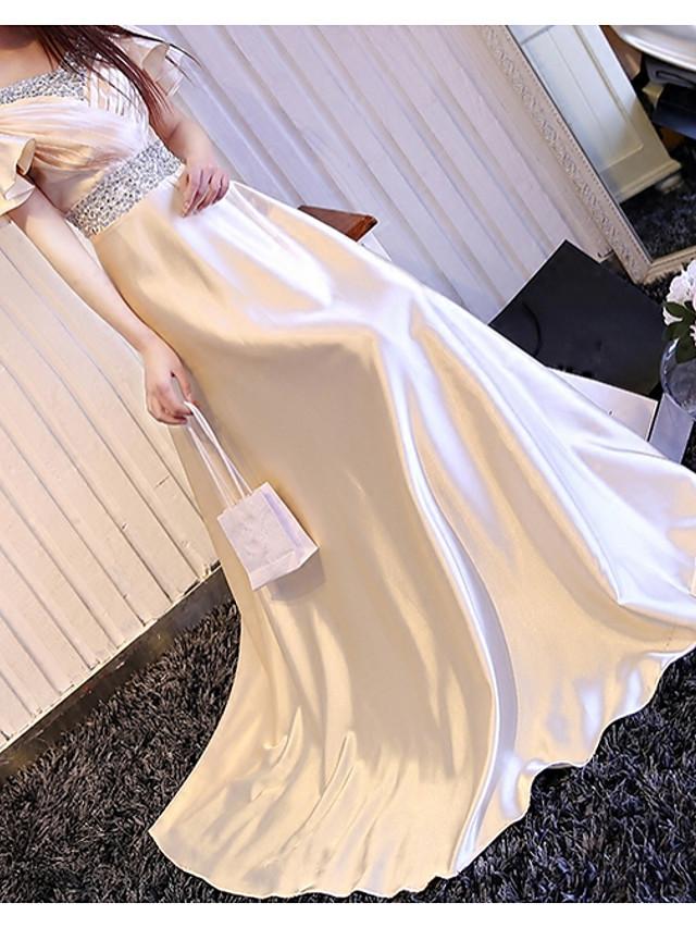 A-Line Elegant White Engagement Formal Evening Dress V Neck Short Sleeve Floor Length Polyester with Crystals 2020