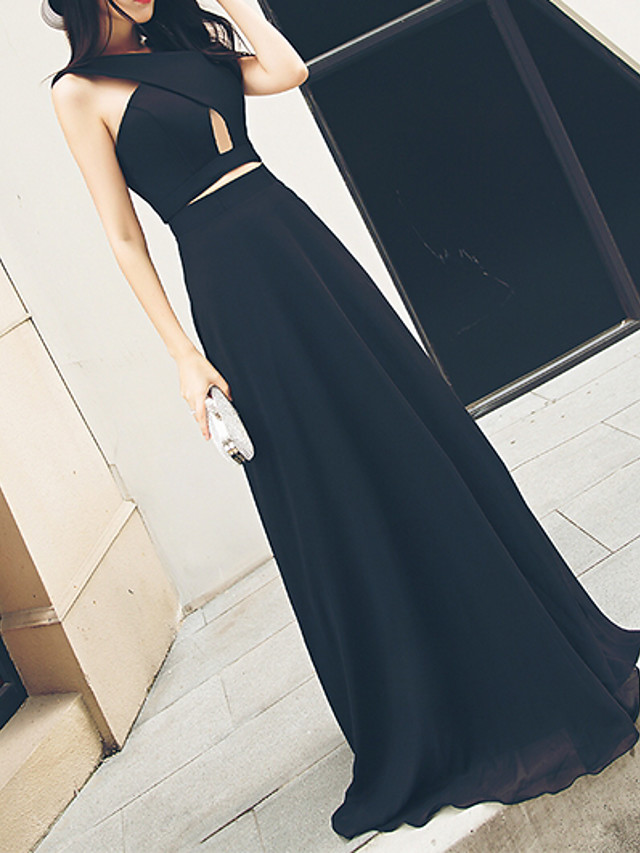 A-Line Elegant Black Prom Formal Evening Dress V Neck Sleeveless Floor Length Polyester with Ruched 2020