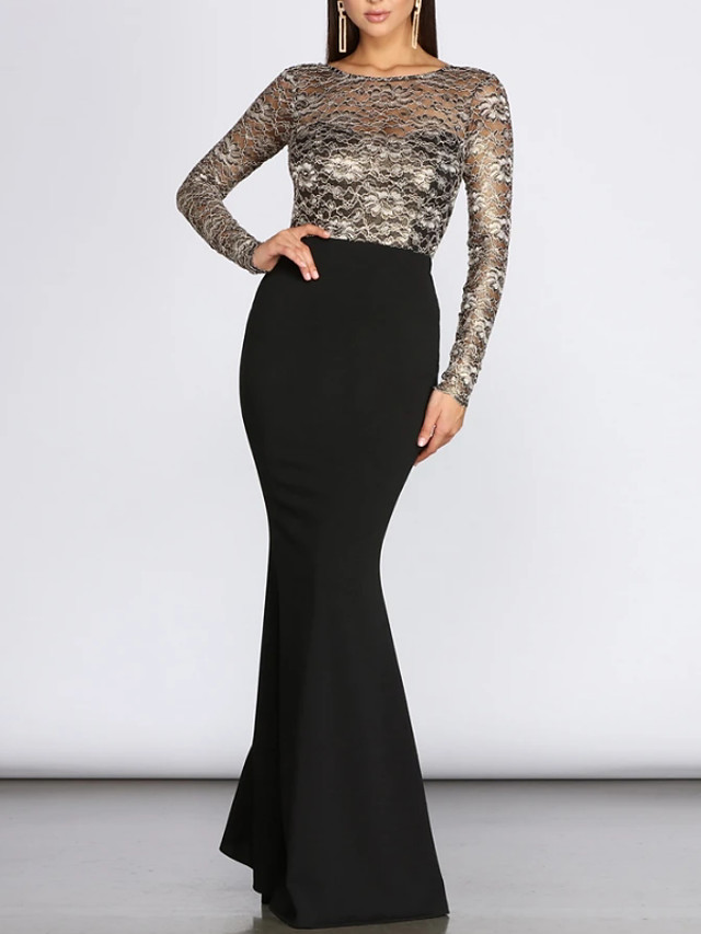 Mermaid / Trumpet Sparkle Black Wedding Guest Formal Evening Dress Jewel Neck Long Sleeve Floor Length Spandex with Draping Tier Appliques 2020