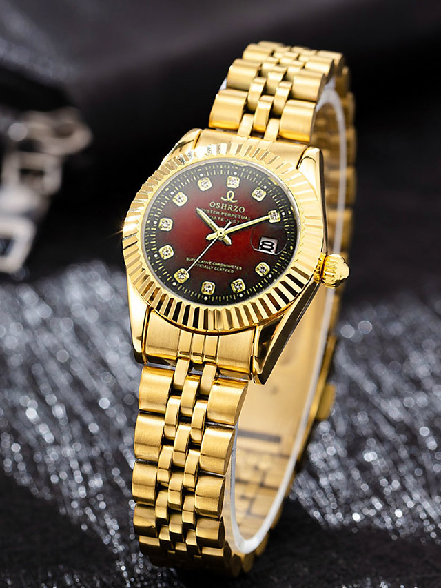 Women's Quartz Watches Synthetic Diamond Classic Casual Gold Stainless Steel Chinese Quartz Red Gold Green Water Resistant / Waterproof Casual Watch Imitation Diamond 30 m 1 pc Analog One Year