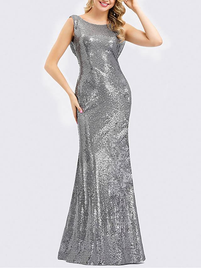 Mermaid / Trumpet Sparkle Grey Prom Formal Evening Dress Jewel Neck Sleeveless Floor Length Polyester with Sequin 2020