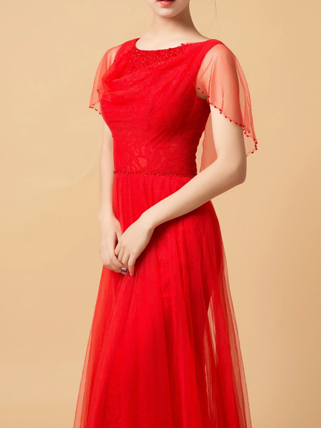A-Line Elegant Red Engagement Formal Evening Dress Jewel Neck Sleeveless Floor Length Tulle with Beading Appliques 2020