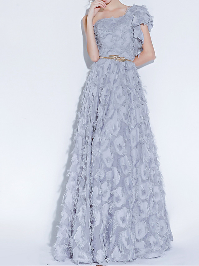 A-Line Luxurious Grey Engagement Prom Dress One Shoulder Sleeveless Floor Length Polyester with Sash / Ribbon Appliques 2020