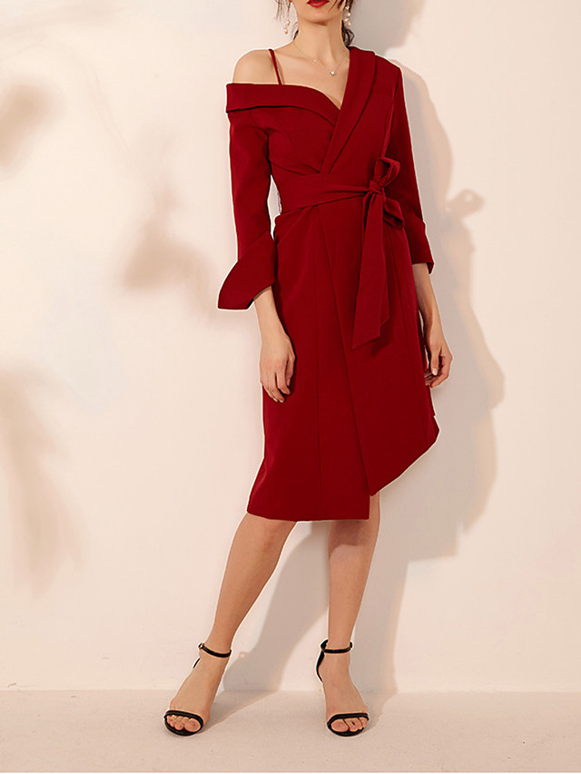 A-Line Sexy Red Wedding Guest Cocktail Party Dress Spaghetti Strap Long Sleeve Knee Length Spandex with Bow(s) 2020