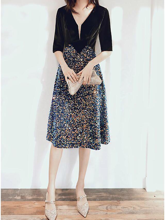 A-Line Glittering Sparkle Wedding Guest Cocktail Party Dress V Neck Half Sleeve Tea Length Velvet with Sequin 2020